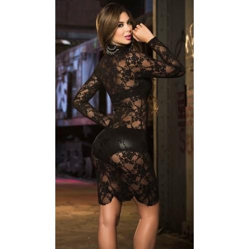 [966]Siyah Transparan Deri Desenli Gece Elbisesi