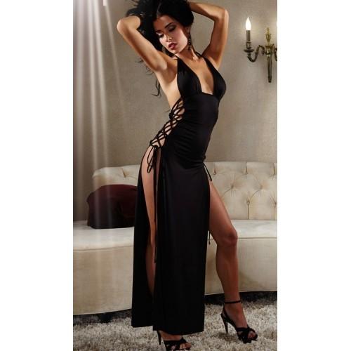 [1000] Uzun Siyah Fantazi Gece Elbisesi