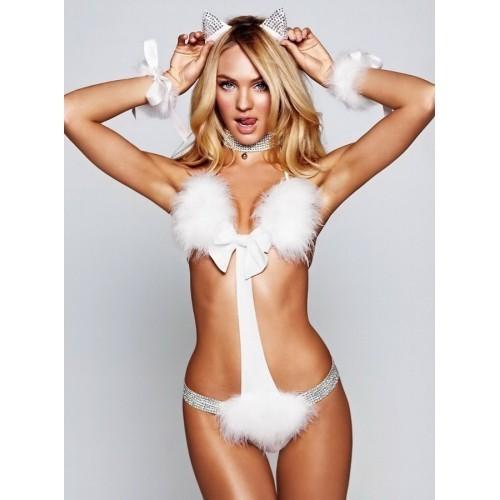 [1010]Seksi Ponponlu Beyaz Kedi Kız Kostümü