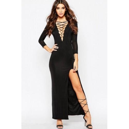 [1017]Şık Bacak Dekolteli Siyah Uzun Elbise
